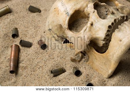 skull lying in the sand, scattered rifle and pistol cartridges. concept of war