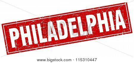 Philadelphia red square grunge vintage isolated stamp