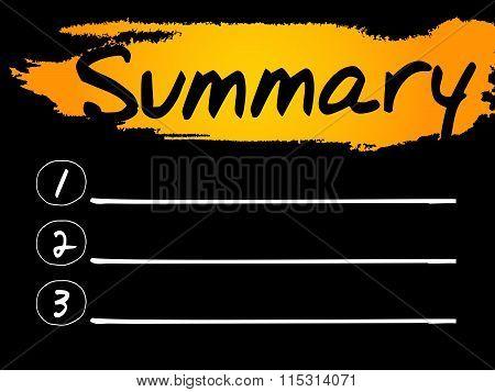 Summary Blank List