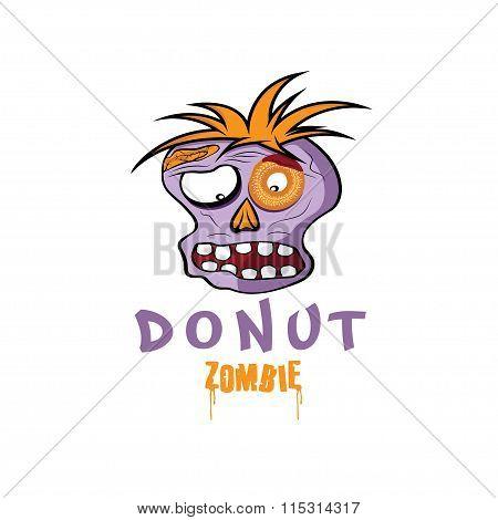 Cartoon Donut Zombie Face Vector Design Template