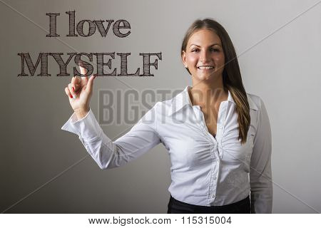 I Love Myself - Beautiful Girl Touching Text On Transparent Surface