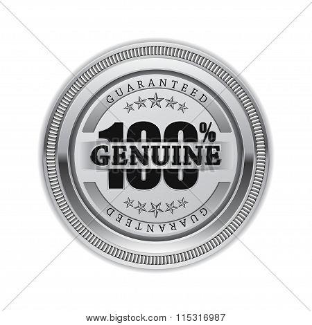 Genuine Quality Silver Seal Vector Icon