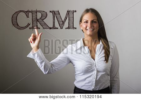 Crm - Beautiful Girl Touching Text On Transparent Surface