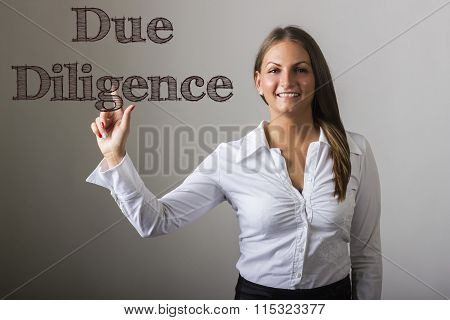 Due Diligence - Beautiful Girl Touching Text On Transparent Surface