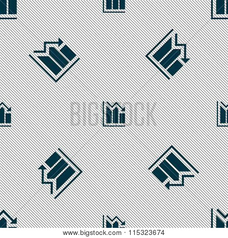 Histogram Icon Sign. Seamless Pattern With Geometric