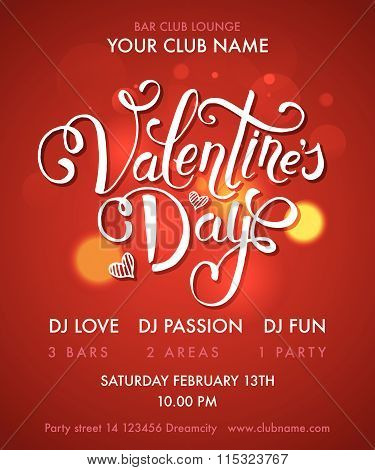 Happy Valentine's Day Party Flyer. Vector Illustration Eps10