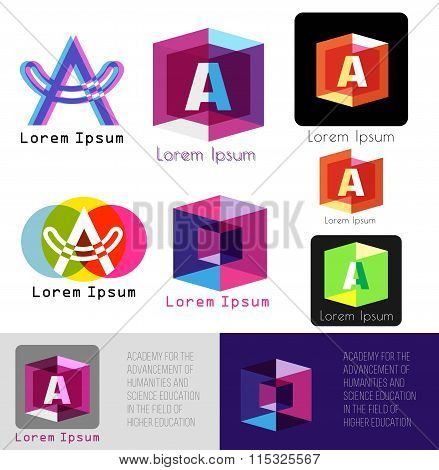 Letter A logo. Template letter A.Academy logo icons.