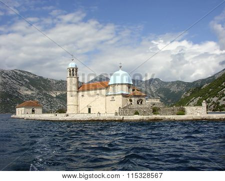 Church of the Mother of God on the island of Our Lady of the Rocks. Kotor Bay. Montenegro