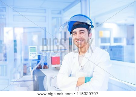 Male Scientist In Experimental Laboratory Using Medical Resources And Tools