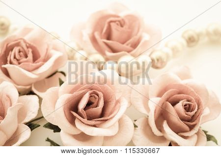Vintage Of Roses And Pearl Necklace.