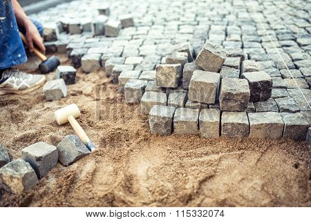 Paving Stones On Pavement Terrace, Construction Details Of Cobblestone Pavement Blocks