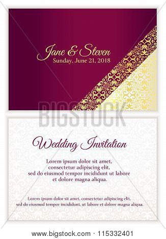 Purple Wedding Invitation With Luxury Golden Lace In Corner And Damask Pattern Inside Of The Card