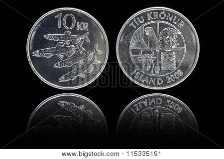 Obverse And Reverse Of 10 Icelandic Krona Coin