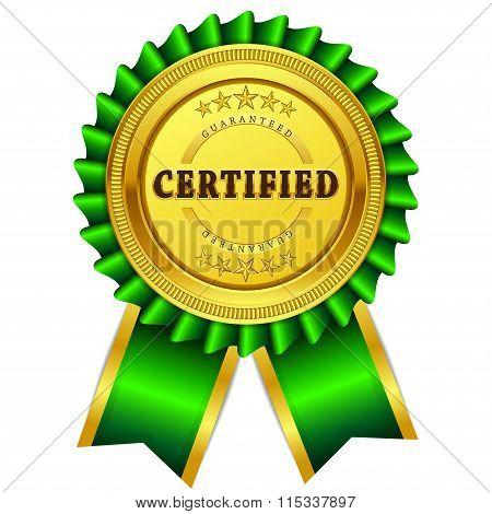 Certified Guaranteed Green Seal Vector Icon