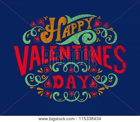 Hand Sketched Happy Valentine's Day Text. Valentine's Day Typography.