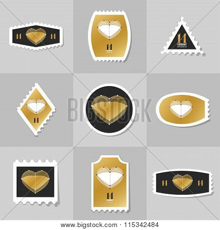 Collection Of Heart On Valentine's Day Postage Stamp