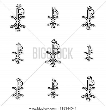 Seamless Black Labarum Background Or Pattern On White