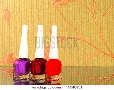Three Bright Vial Of Nail Polish