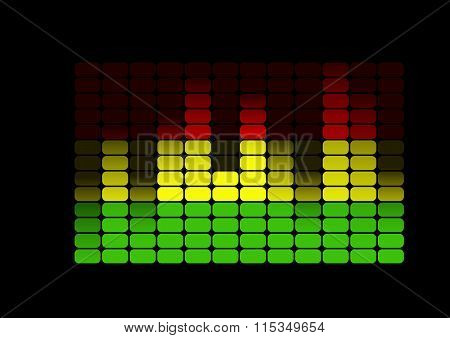 Multicolored equalizer on black background