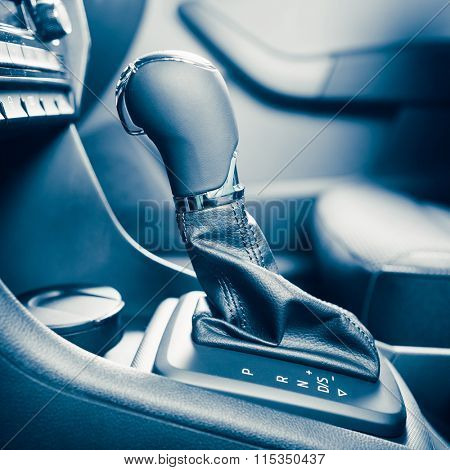 gearstick of speed shift selector in automatic transmission car poster