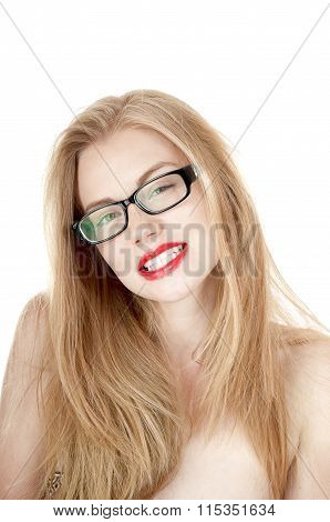 Portrait Of Beautiful Smiling Girl In Glasses, Isolated On White Background.
