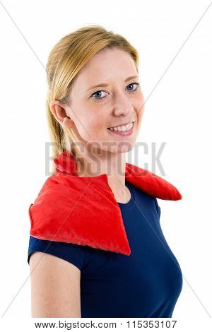 Woman Relaxing With Hot Cold Pack On Shoulders