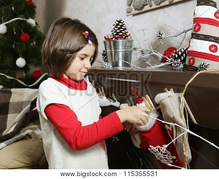 Little Girl With Christmas Decorations