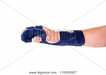 Man With Hand And Wrist Wrapped In Support Brace