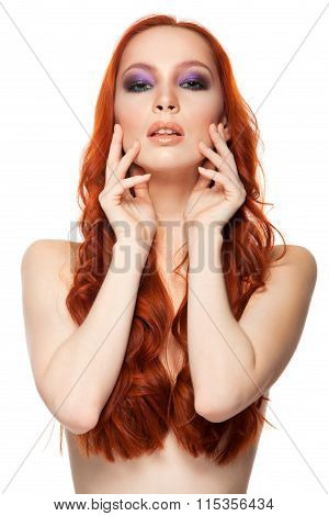 Woman from Fair skin with beauty long curly  red hair. Isolated background.