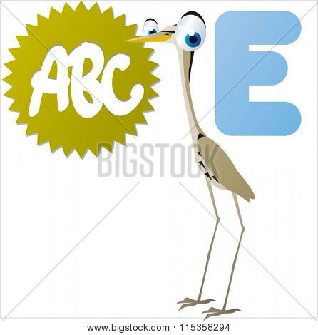 funny comic reading animals abc: E is for Egret