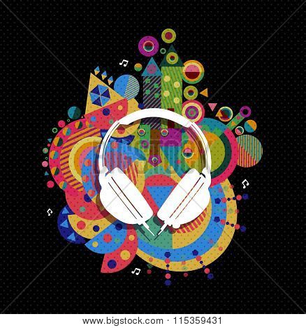 Dj Headphone Icon Concept Music Color Shape