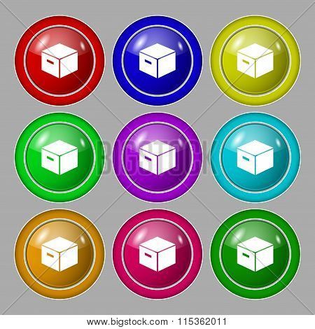 Packaging Cardboard Box Icon Sign. Symbol On Nine Round Colourful Buttons.