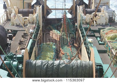 Fishing Trawler. Deck With Net.