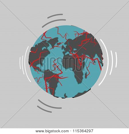 Earthquake. Earth Destruction. Disaster Fracture Of The Earths Crust. Destruction Of World. Continen