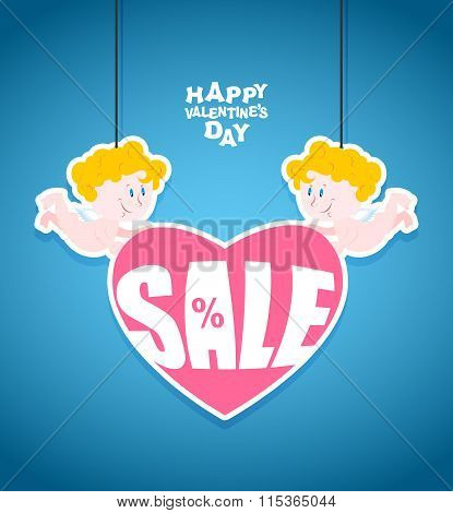 Sales Valentines Day. Little Angel Is Holding A Heart With Text. Funny Cute Cupid. Banner For Store