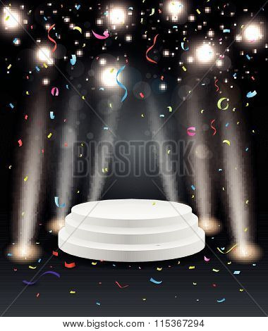 Podium with light and colorful confetti