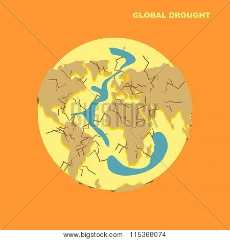 Drought On Planet Earth. Natural Disaster-dried Earth And Sparilas Water, Oceans. Cracks In Earths C