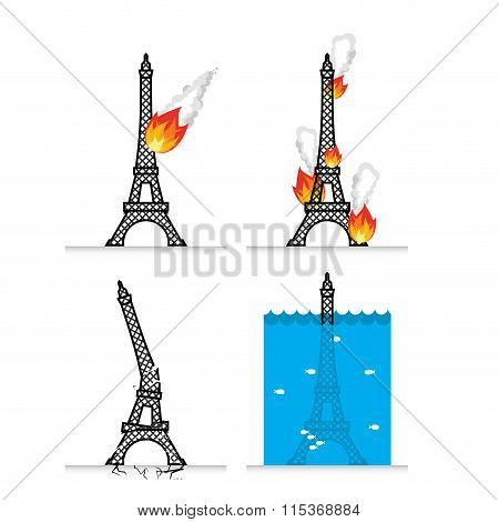 Destruction Of Eiffel Tower In Paris. Meteorite Flies Symbol Of France. Fire In Sights. Lit Eiffel T