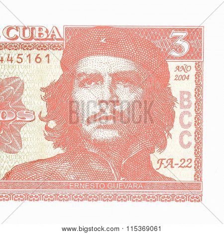 Portrait of Che Guevara on a cuban banknote vintage poster