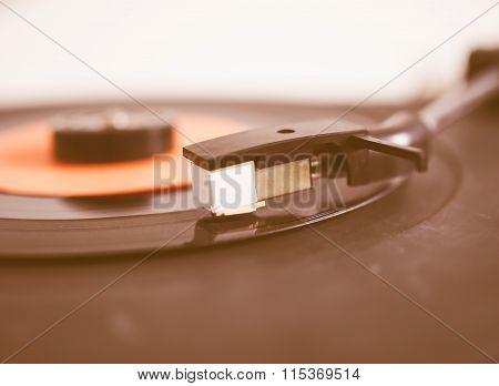 Vinyl Record On Turntable Vintage