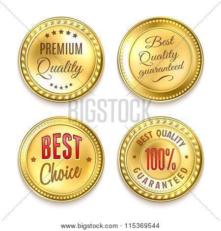 Four Golden Round Labels Set