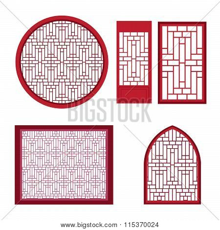 Window And Door With Asian Pattern