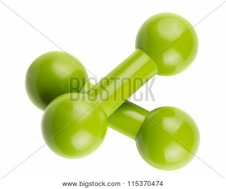 Pair Of Green Dumbbells For Fitness