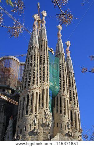 Barcelona, Catalonia, Spain - December 12, 2011: Details Of Fa?ade Of Sagrada Familia Temple, Barcel