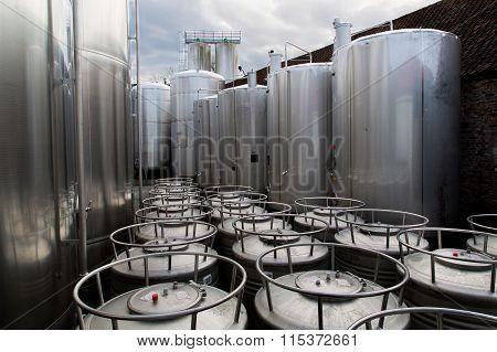 Modern steel tanks in a beer brewery