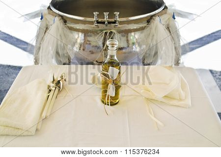 Orthodox Christening oil and candles
