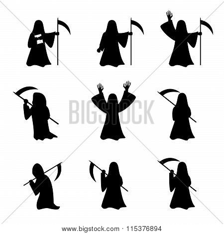 Set Of Grim Reapers In Silhouette Style
