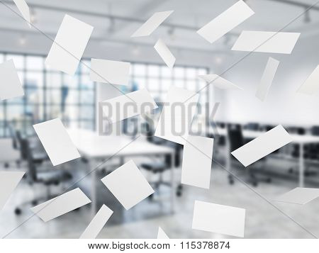 Blank Business Cards Flying