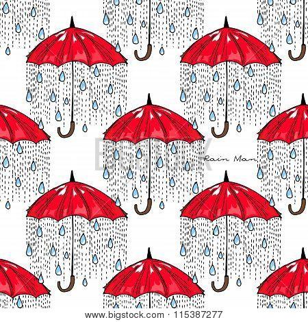 Hand-drawn Illustrations. Rain Under A Red Umbrella. Postcard Rain Man. Seamless Pattern.