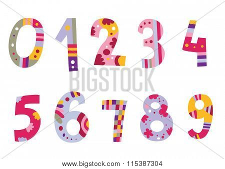 Colorful set of numbers. Assorted alphabet available in my portfolio.